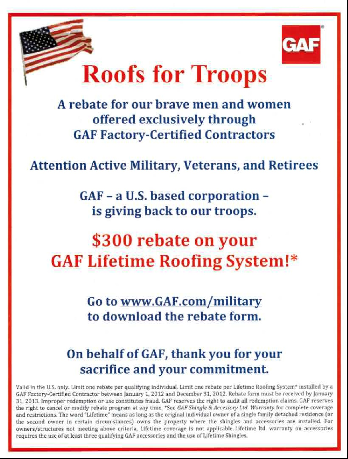 Gaf Roofs For Troops Roofing Annapolis Maryland Siding