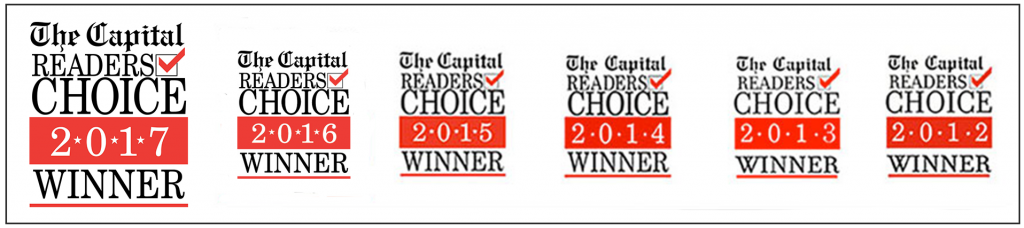 The Capital Readers Choice Winner Logos 2017, 2016, 2015, 2014, 2013, 2012