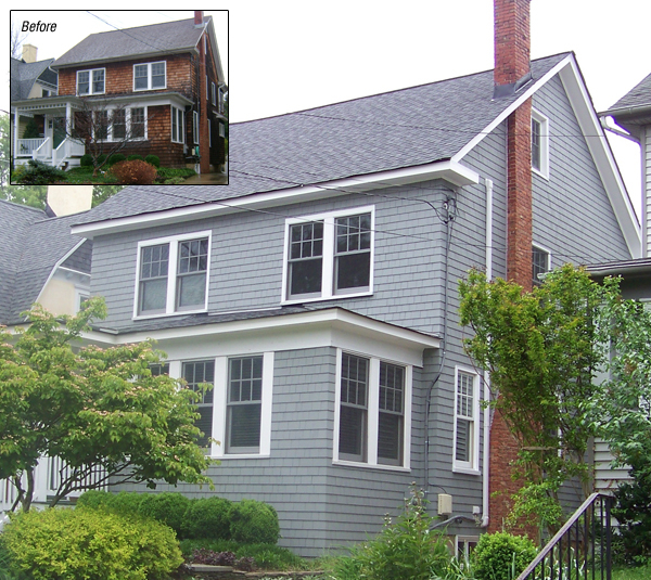 Before and After Cedar Siding on Annapolis Home by Fichtner Services