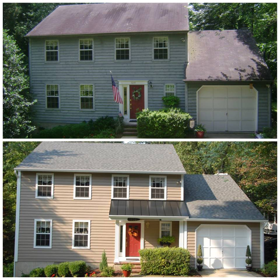 Fichtner october before after roofing annapolis maryland - How to clean house exterior before painting ...